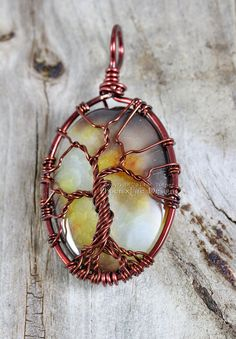 Agate Tree of Life Pendant Brown Wire by PhoenixFireDesigns, $75.00
