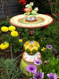 glass garden art ideas | Vintage glass garden art, bird bath. Cut and etched glass shimmers and ...