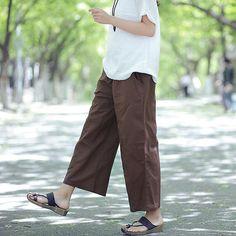 Spring cotton linen casual small pants – Artistic retro ramie leisure solid color gap wide leg pants
