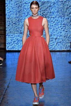Pink Dress with Pleated Skirt - DKNY Spring 2015 Ready-to-Wear - Collection - Gallery - Look 1 - Style.com