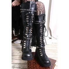 Handmade Japan Gothic Visual Kei Punk Industrial Metal D-Ring Vegan Knee hi Boot' on Wish, check it out! Visual Kei, Goth Boots, Punk Shoes, Harajuku, Style Emo, My Style, Dark Fashion, Gothic Fashion, Lolita Fashion