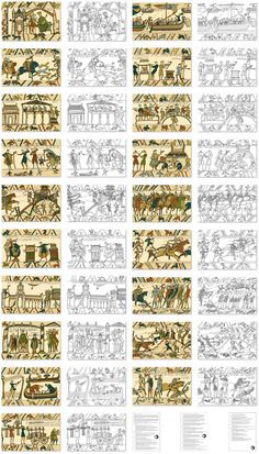 Bayeux Tapestry Observation Sheets for Kids - Wall Art Bayeux Tapestry, Medieval Tapestry, Medieval Art, Medieval Embroidery, Embroidery Art, Embroidery Patterns, Art Wall Kids, Art For Kids, Wall Art