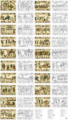 Bayeux Tapestry Observation Sheets for Kids - Wall Art Bayeux Tapestry, Medieval Tapestry, Medieval Art, Medieval Embroidery, Vintage Embroidery, Embroidery Art, Embroidery Patterns, Art Wall Kids, Art For Kids