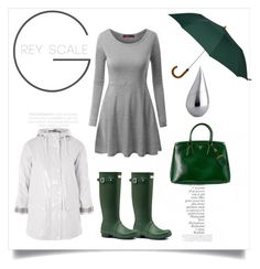 """Green"" by b-nieves on Polyvore featuring By Terry, Doublju, Hunter, London Undercover, Topshop, La Prairie and Prada"