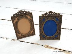 2 vtg c.1940s FRAMES from Italy ornaments decorative frames brass bronze frame for picture decor collectible retro frames vintage P12/739