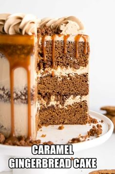 The classic Gingerbread Cake gets a delicious makeover! Gingerbread cake layers and caramel buttercream paired with gingerbread streusel and homemade caramel. Chewy Gingerbread Cookies, Gingerbread Cake, Gingerbread Houses, Christmas Desserts, Christmas Baking, Cake Recipes, Dessert Recipes, Thanksgiving Cakes, Fall Cakes