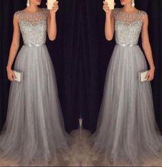 Elegant Evening Dress,Modest Evening Gowns,Prom Dress,Prom Dresses,Elegant Sparkly Tulle Grey A-line Sequins Beaded Sleeveless Evening Dresses
