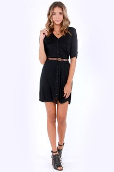 Sweater Than Ever Belted Black Sweater Dress at LuLus.com! #holidaywear #lulus