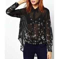 Women's Chic Long Sleeve Shirt Collar Asymmetrical See-Through Shirt