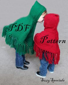 Pattern for Knitted Hooded Childrens Ponchos PDF by SuzySpecialsCrochet Boho Owl Poncho - 2 Year Old to Adult Sizes - Fringe Fall Hippie Poncho - Made to Order - Halloween Hooded Owl Costume Ellie's sister likes this one. Hooded Poncho Pattern, Poncho Knitting Patterns, Knitted Poncho, Knit Patterns, Knitting Designs, Knitting For Kids, Knitting Projects, Baby Knitting, Free Knitting