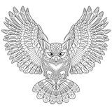 Vector: Zentangle stylized cartoon eagle owl, isolated on white background. Hand drawn sketch for adult antistress coloring page, T-shirt emblem, logo or tattoo with doodle, zentangle, floral design elements.