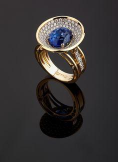 "Ring ""Satellite"" with sapphire and diamonds Markin Fine Jewellery Lapis Lazuli Jewelry, Sapphire Jewelry, Blue Sapphire Rings, Jewelry Design Earrings, Jewelry Rings, Jewelery, Modern Jewelry, Fine Jewelry, Vintage Jewelry"