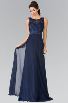 2dedf286a99c Stunning evening dress perfect for a special occasion or a special night  out. Beautiful long chiffon gown with lace top and sheer illusion bodice.