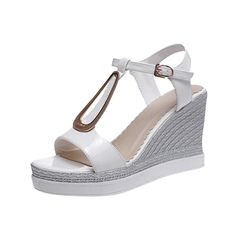 Carolbar Women's Sweet Fashion Metal Decorations T-Strap Buckle Open Toe Platform Dress Wedges Sandals * Check out the image by visiting the link.