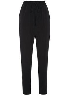 Black trouser in 95% Fairtrade certified cotton, 5% elastane. Casual style with side pockets and elasticated drawstring waist. Inside leg 80cm.