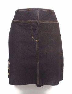 Women's Bisou Bisou Denim Jean Short Skirt Button Details Size 12 #BISOUBISOU #ShortSkirt