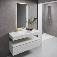 Sometimes it's a case of the simpler the better, and this countertop basin in Corian is the perfect example. Elegant and understated, this wall-mounted sink will complement your bathroom's aesthetics – it's no wonder that this minimalist bathroom beauty is growing in popularity! #coriansink #corianbathroom #bathroomsinks #bathroomsink Corian Sink, Countertop Basin, Bathroom Countertops, Oak Vanity Unit, Freestanding Vanity Unit, Cabinet Furniture, Bathroom Furniture, Bathroom Interior, Solid Surface
