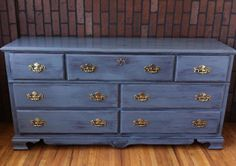 Navy blue Bassett shabby chic dresser or buffet