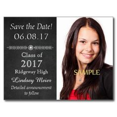 Chalkboard Save the Date Graduation Post Card by Westerngirl2