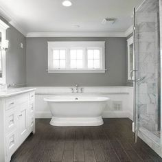 Gray bathroom color ideas sherwin williams bathroom colors gray small bathroom paint color ideas for bathroom color schemes gray bathroom colors pictures Wood Bathroom, Grey Bathrooms, Bathroom Flooring, Bathroom Interior, Master Bathroom, Bathroom Remodeling, Dark Floor Bathroom, Floor Mirror, Bathroom Cabinets