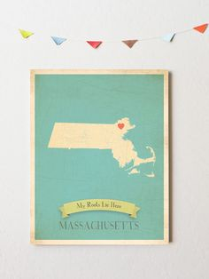 Massachusetts State Map Customize with Heart Stickers