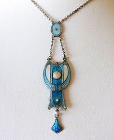 Antique 1912 Sterling Enamel Necklace Pendant Art Nouveau