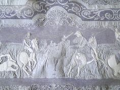 """Magnificent Appenzell Lace Tablecloth, Napoleon's """"Battle of Eylau"""" Lace banquet cloth . . .  I've always wanted to eat a fine fancy meal in the middle of a battle scene. . ."""