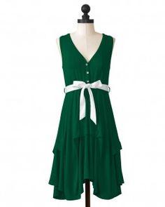 Baylor University flirty dress in dark green