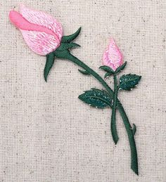 Iron On Embroidered Applique Patch Pink Roses on Stem Closed Buds 153110I