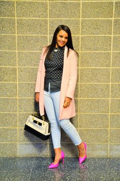 There is something about the pink and black combo that I just love . The softness of the pink mixed with chicness of black make it a great m. Fashion Bloggers, Blazer, How To Make, Pink, Jackets, Women, Down Jackets, Blazers, Pink Hair
