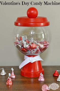 Valentine's Day Candy Machine made from Dollar Store supplies!