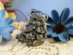 Vintage Torino Pewter Teddy Bear Set Pin Earrings Necklace Trinket Box - TOO CUTE!!!  • The small teddy bear shaped trinket pill box is