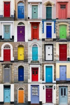 A photo collage of 25 colourful front doors to houses and homes. Free art print of Vertical photo collage of 25 front doors . Wooden Front Door Design, Wooden Front Doors, Painted Front Doors, The Doors, Entry Doors, Front Door Decor, Exterior Door Colors, Front Door Paint Colors, Exterior Doors