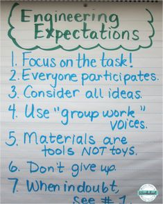 Use this anchor chart to establish expectations for STEM engineering projects. Simple STEM idea with free printables included, too! From More Than a Worksheet 4th Grade Science, Stem Science, Middle School Science, Science Experiments, Physical Science, Earth Science, Life Science, Science Ideas, Science Books