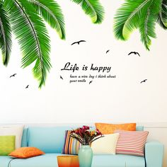 6 SHEETS REMOVABLE PALM LEAVES TROPICAL WALL DECAL STICKER ROOM DIY DECOR ORNATE