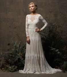 Aurora Lace Bohemian Wedding Dress Long Sleeves and Open