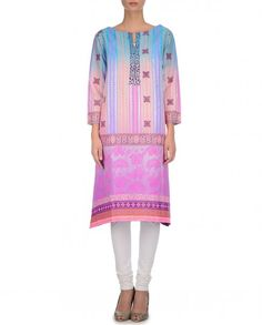 Pink and Blue Tunic with Floral Prints - New Arrivals