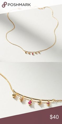 """Anthropologie Delicate Rainbow Charm Necklace Brand new with tag on! Never worn! This necklace has 5 rainbow colored beautiful gemstones (Cubic Zirconia) attached to a bar and dangling at the center drop of the necklace. Very cute on!  13""""L with 2"""" extender chain Anthropologie Jewelry Necklaces"""