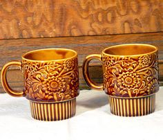 Honey Brown Floral Mugs Japan Set Of Two 1970s Retro Stacking Coffee Cups