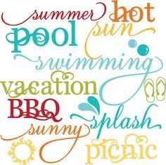 Summer Words Set SVG scrapbook title summer svg files cloud svg files sun svg cuts
