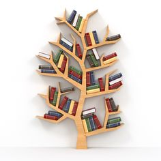 Awesome And Genius Tree Bookshelf Design And Styling Ideas Diy Bookshelf Design, Shelving Design, Bookcase Decorating, Creative Bookshelves, Decorating Ideas, Kids Room Bookshelves, Library Shelves, Bookcases, Tree Bookshelf