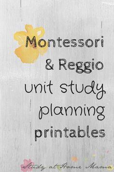 Montessori & Reggio Unit Study Planning Printables