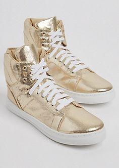 Gold Metallic High Top Sneakers  <div id=