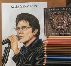 Shakin Stevens pencil portrait by Kathy Siney   Rock n Roll Singer
