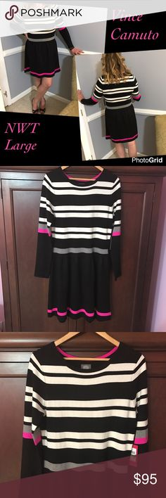 "NWT Vince Camuto Striped Sweater Dress Brand new and Bought for my daughter for Christmas but it's to short for her liking(she's taller with a booty than me, I'm in cover photo, I'm 5'10) Pretty and Comfy with it being true to size which is a Large....18"" across chest laying flat and about 37"" in length.... black, winter white, pink and gray...bundle to save more plus ⚡️📦📫😁💕 Vince Camuto Dresses Long Sleeve"