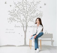 Shelter Trees And Birds Wall Decals– WallDecalMall.com