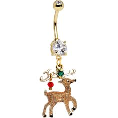 Handcrafted Reindeer Dangle Belly Ring Created with Swarovski Crystals
