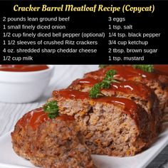 Cracker Barrel's Meatloaf Recipe is classic comfort food made with ground beef, onions, bell pepper, cheddar cheese, Ritz crackers and a sweet, savory glaze on top! Cracker Barrel Meatloaf, Cracker Barrel Recipes, Cracker Barrel Carrots, Good Meatloaf Recipe, Best Meatloaf, Meatloaf Recipe With Ritz Crackers, Meatloaf In Oven, Easy Meatloaf Recipe With Bread Crumbs, Beef Meatloaf Recipes