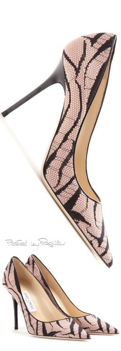 Jimmy Choo ~ Spring Leather Pumps, Black/Pale Pink, 2015