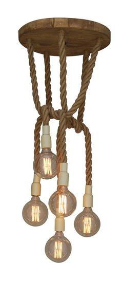 Vintage hanglamp in hout met touw voor 5 lampen 45cm diameter